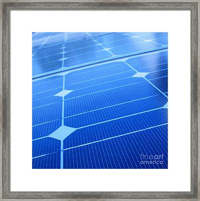Closeup Of Solar Panels Framed Print by Yali Shi