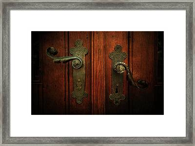 Closeup Of Two Ornamented Handles Framed Print