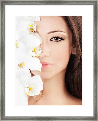 Closeup On Beautiful Face With Flowers Framed Print by Anna Omelchenko