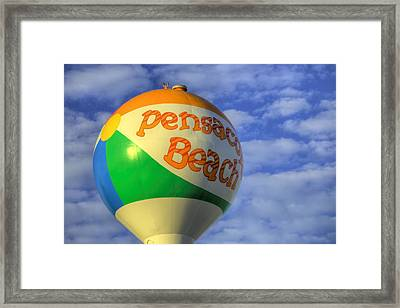 Closeup On The Pensacola Beach Beach Ball Framed Print by JC Findley
