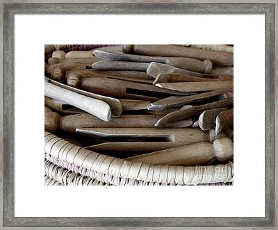 Clothes-pins Framed Print by Lainie Wrightson