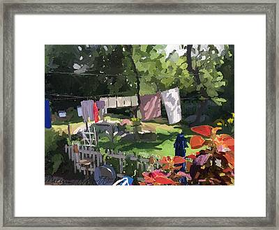 Clothesline And Coleus In An East Gloucester  Ma Garden  Framed Print