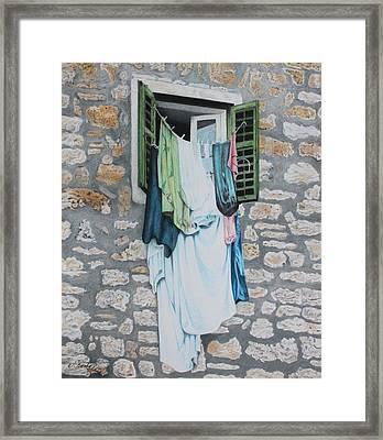 Clotheslines In Dobrovnik Framed Print by Wilfrid Barbier