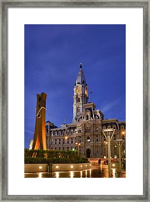 Clothespin And City Hall Framed Print