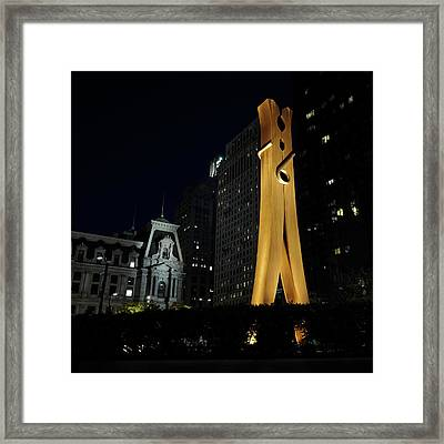 Clothespin At Night - Philadelphia Framed Print