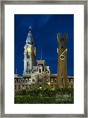 Clothespin Sculpture And City Hall Framed Print