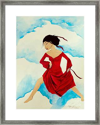 Cloud Dancing Of The Sky Warrior Framed Print by Jean Fry