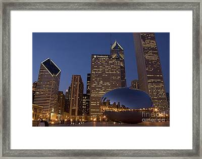 Cloud Gate At Night Framed Print
