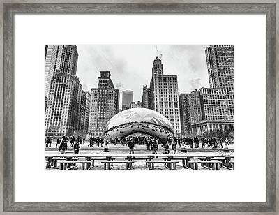 Cloud Gate Bw Framed Print