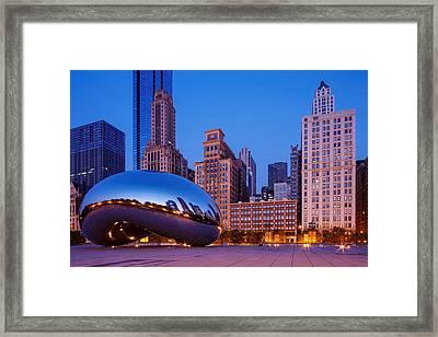 Cloud Gate -the Bean- In Millenium Park At Twilight Blue Hour - Chicago Illinois Framed Print by Silvio Ligutti