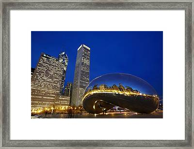 Cloud Gate The Bean Sculpture In Front Framed Print