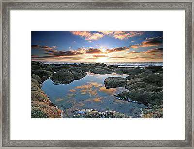 Cloud Reflections Cot Valley West Cornwall At Sunset Framed Print