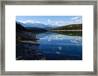 Cloud Reflections In Patricia Lake Framed Print by Larry Ricker