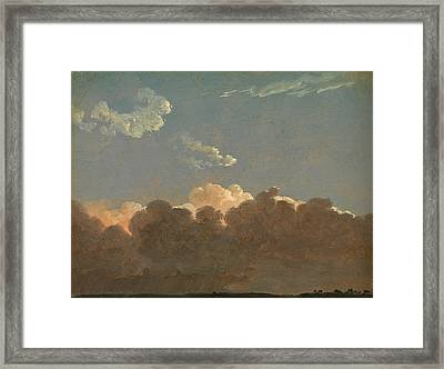 Framed Print featuring the painting Cloud Study. Distant Storm by Simon Denis