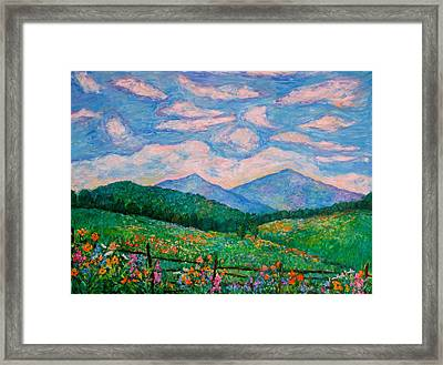 Cloud Swirl Over The Peaks Of Otter Framed Print by Kendall Kessler