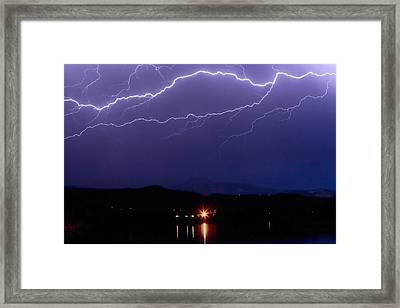 Cloud To Cloud Horizontal Lightning Framed Print by James BO  Insogna