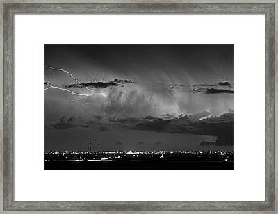 Cloud To Cloud Lightning Boulder County Colorado Bw Framed Print