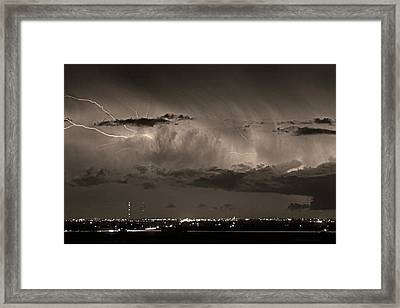 Cloud To Cloud Lightning Boulder County Colorado Bw Sepia Framed Print