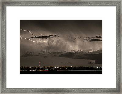 Cloud To Cloud Lightning Boulder County Colorado Sepia Color Mix Framed Print by James BO  Insogna