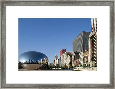 Cloudgate Reflects Michigan Avenue  Framed Print