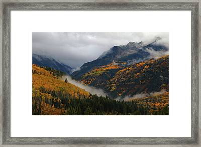 Framed Print featuring the photograph Clouds And Fog Encompass Autumn At Mcclure Pass In Colorado by Jetson Nguyen