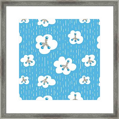 Clouds And Methane Molecules Pattern Framed Print