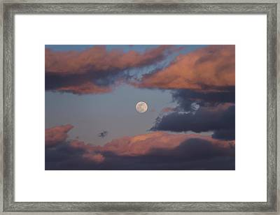 Framed Print featuring the photograph Clouds And Moon March 2017 by Terry DeLuco