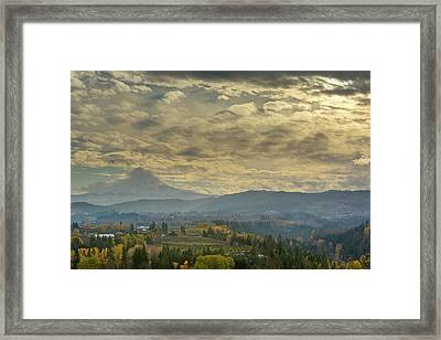 Clouds And Sun Rays Over Mount Hood And Hood River Oregon Framed Print