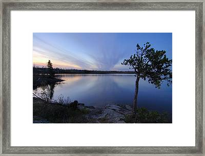 Clouds At Sunset On Seagull Lake Framed Print by Larry Ricker