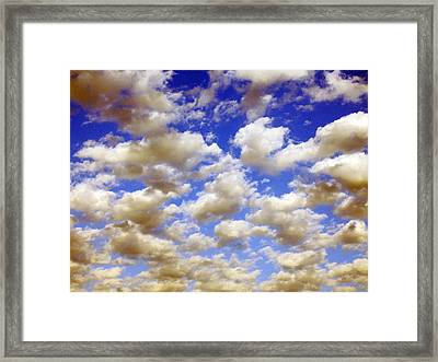Framed Print featuring the digital art Clouds Blue Sky by Jana Russon