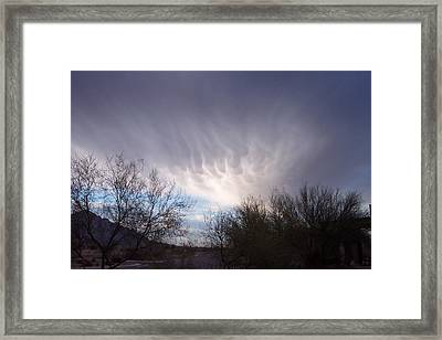 Clouds In Desert Framed Print by Mordecai Colodner