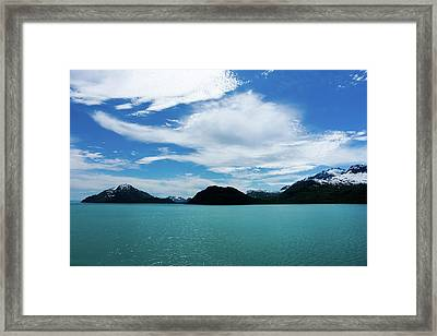 Clouds Mountains And Water Framed Print