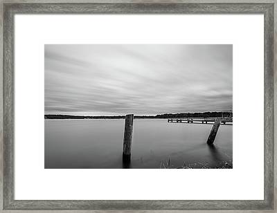 Framed Print featuring the photograph Clouds Moving Over Lake Long Exposure by Todd Aaron