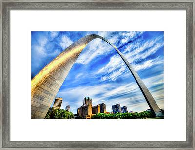 Clouds Moving Over The Saint Louis Skyline And Arch  Framed Print