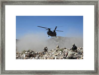 Clouds Of Dust Kicked Up By The Rotor Framed Print