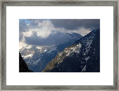 Clouds On Half Dome Framed Print by Richard Verkuyl