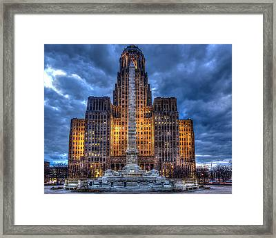 Clouds Over City Hall Framed Print