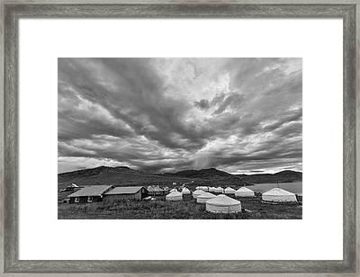Clouds Over Ger Camp Framed Print by Hitendra SINKAR
