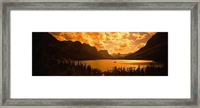 Clouds Over Mountains, Mcdonald Lake Framed Print