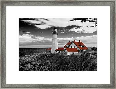 Clouds Over Portland Head Lighthouse 3 - Bw Framed Print