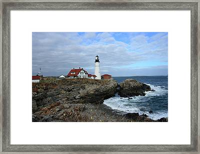 Clouds Over Portland Head Lighthouse Framed Print
