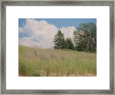 Framed Print featuring the photograph Clouds Over Sand Dunes by Beth Akerman
