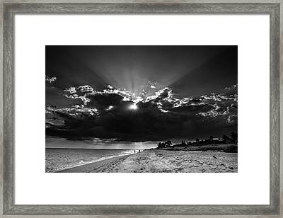 Clouds Over Sanibel Island Florida In Black And White Framed Print