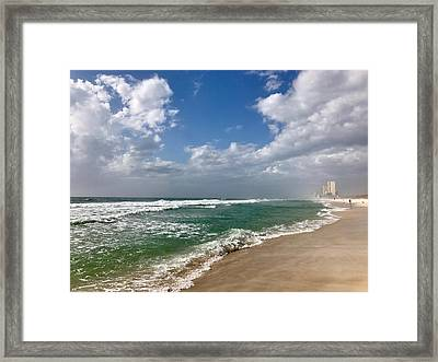 Clouds Over The Beach Framed Print