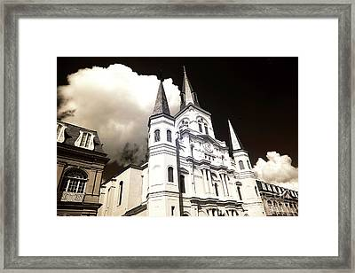 Clouds Over The Cathedral Infrared Framed Print by John Rizzuto