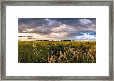 Framed Print featuring the photograph Clouds Over The Fields by Dmytro Korol