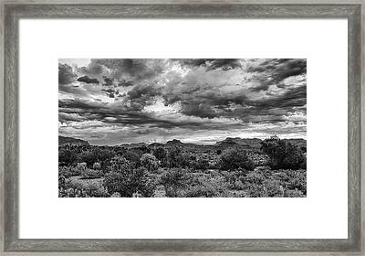 Framed Print featuring the photograph Clouds Over The Superstitions by Monte Stevens