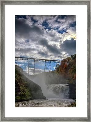 Clouds Over Upper Falls Framed Print by Rick Berk