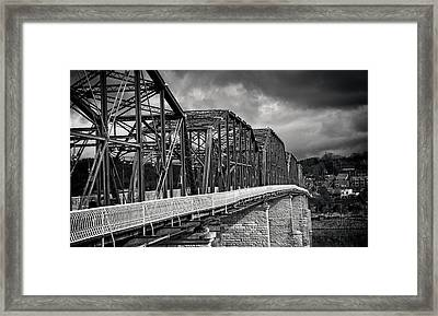 Framed Print featuring the photograph Clouds Over Walnut Street Bridge In Black And White by Greg Mimbs