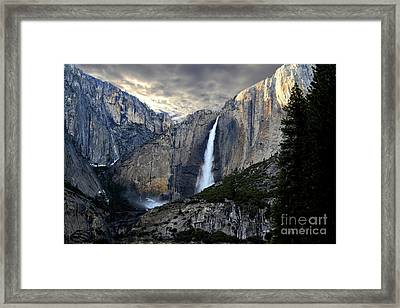 Clouds Over Yosemite Fall Framed Print